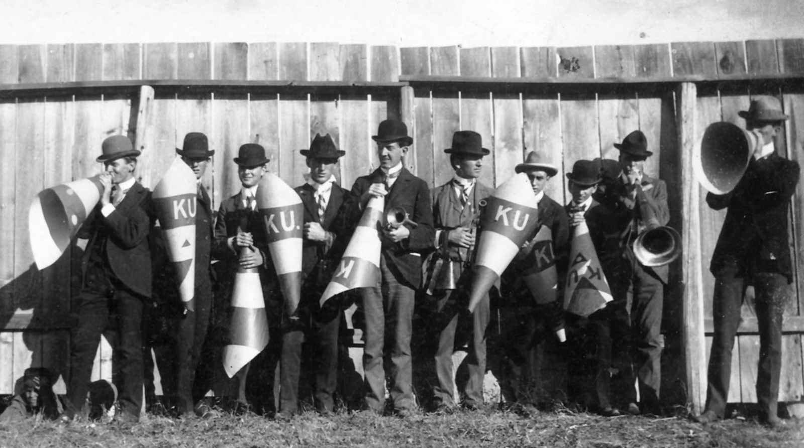 link to image of KU cheerleaders at McCook Field, 1899