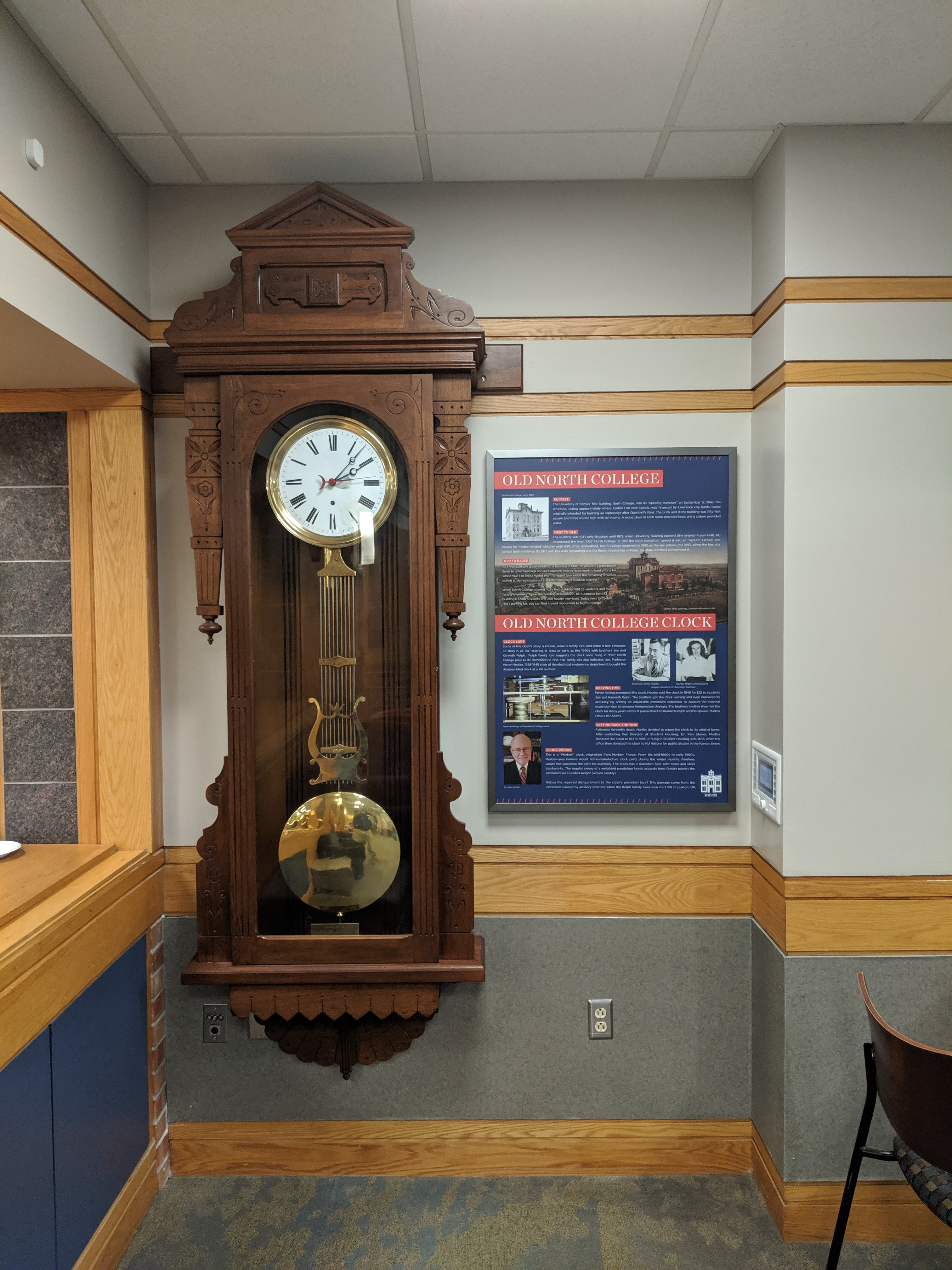 Old North College Clock and graphic panel