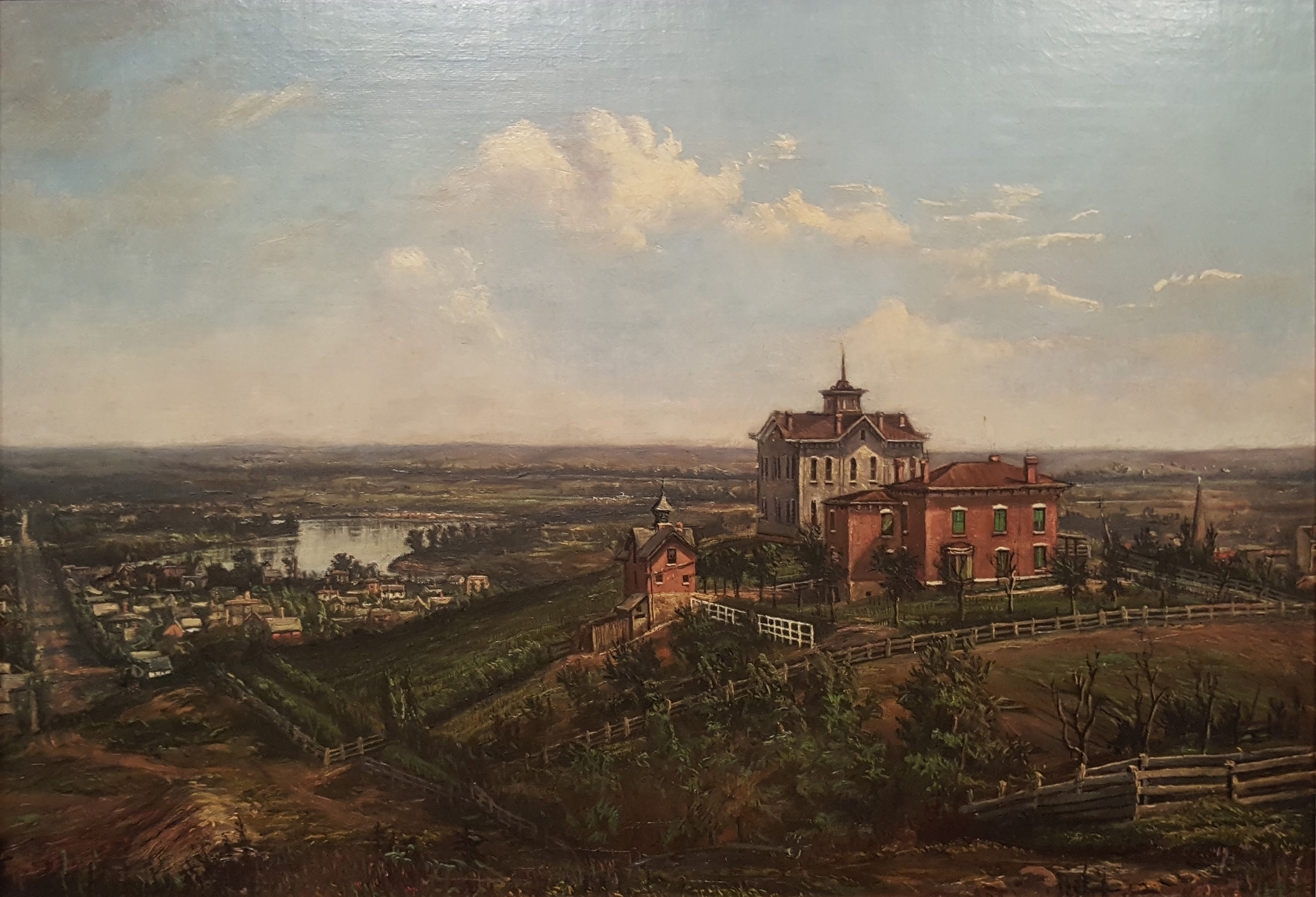 """View of Old North College"" painting by James Hess"