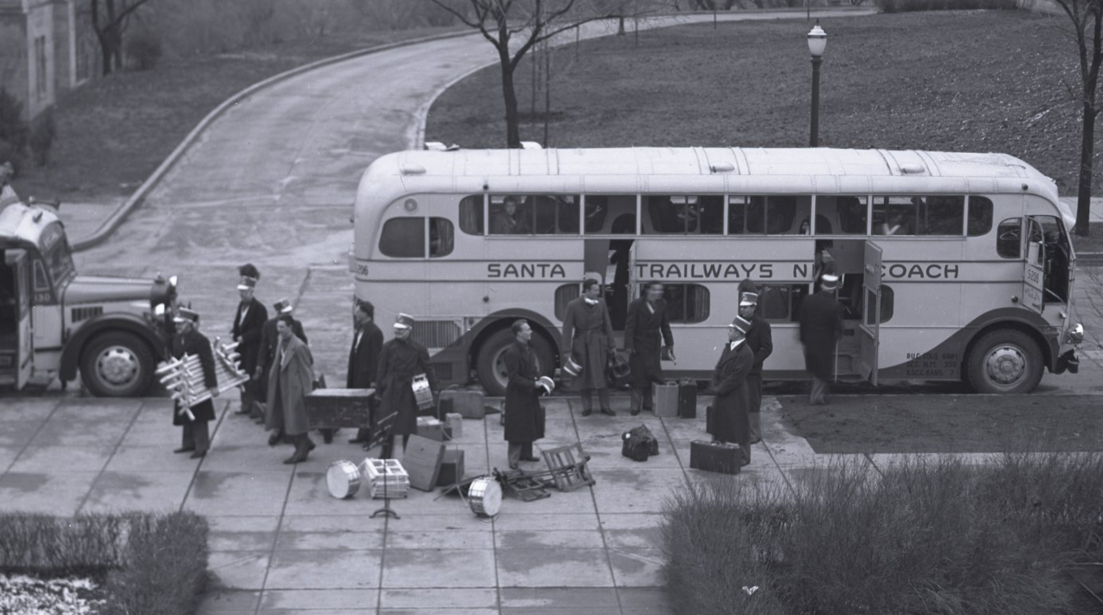 KU Marching Band on tour, 1936-1937.